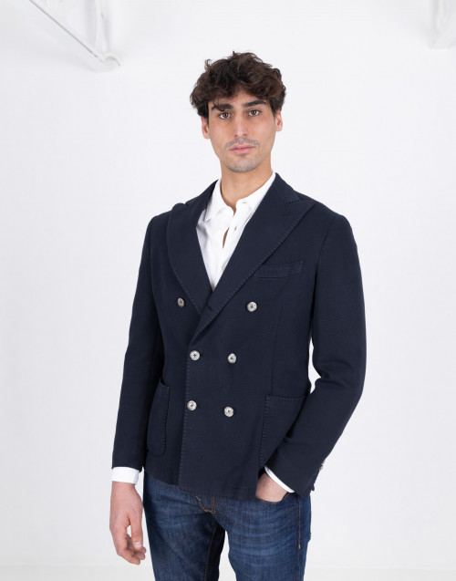 Double-breasted blazer in blue cotton