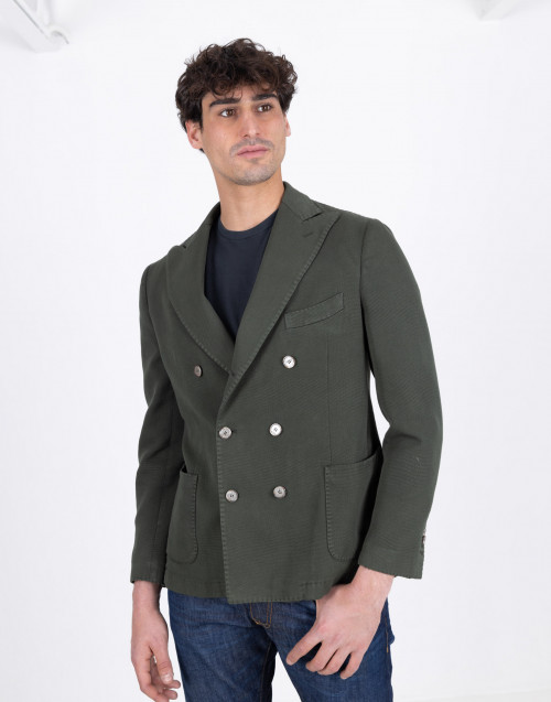 Double-breasted blazer in olive cotton