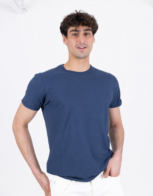 Blue flamed cotton T-shirt