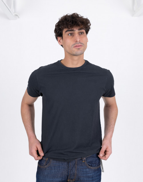 Black flamed cotton T-shirt