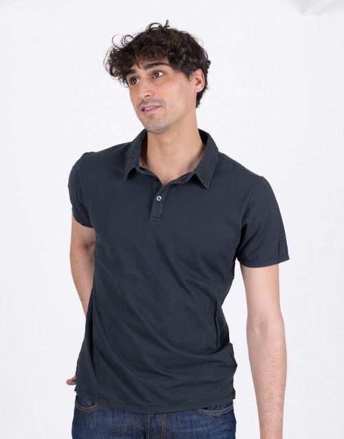 Black flamed cotton polo shirt