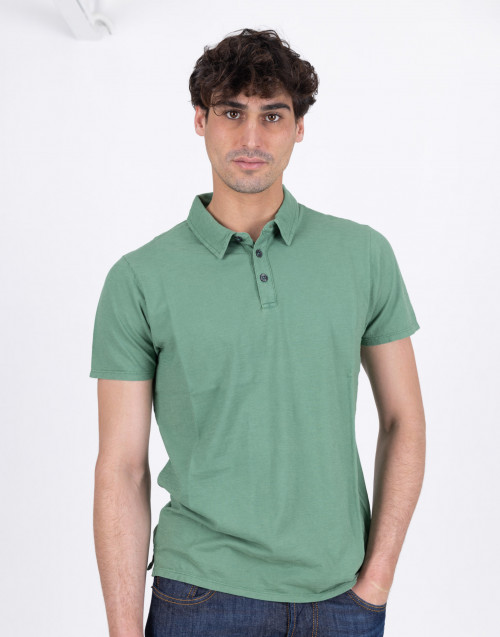 Green flamed cotton polo shirt
