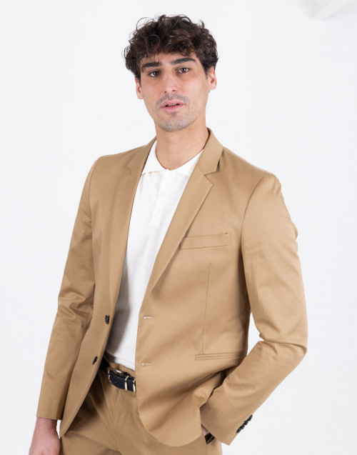 Half lined double-breasted beige blazer