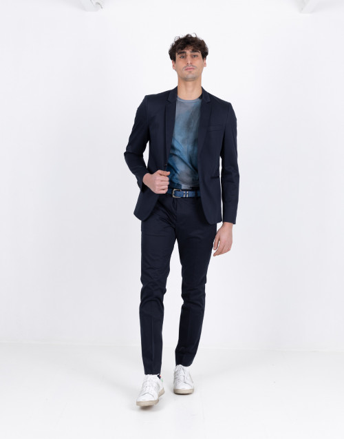 Half lined double-breasted blue blazer