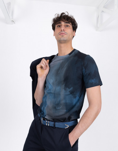T-shirt con fantasia Brush Stroke blu