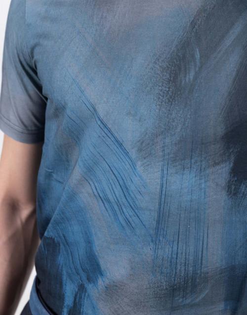 T-shirt con fantasia Brush Stroke blu
