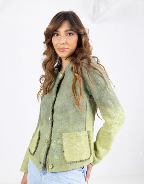 Green collarless jacket with pockets