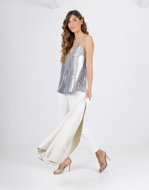 Tank top with silver sequins