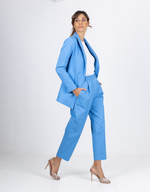 Light blue cotton blazer with button