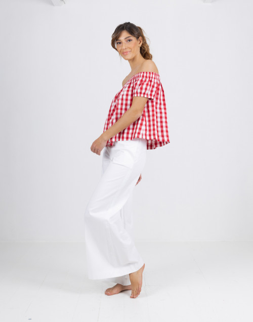 Semicouture top in red and ivory vichy