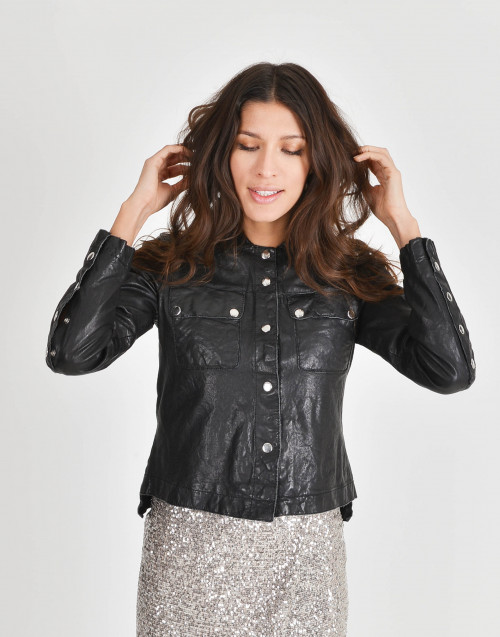 Leather jacket with shirt neck