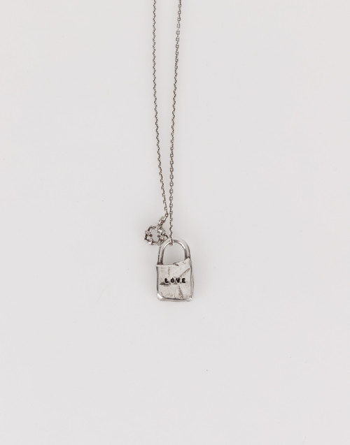 Love necklace with silver lock pendant