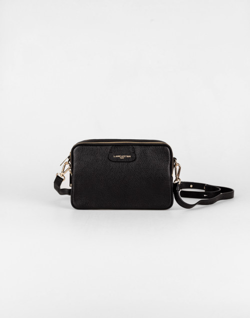 Black shoulder bag with three internal compartments