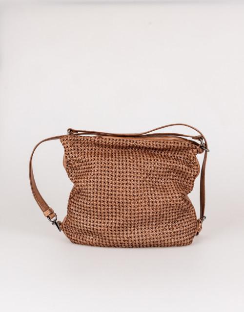 Star camel leather backpack bag