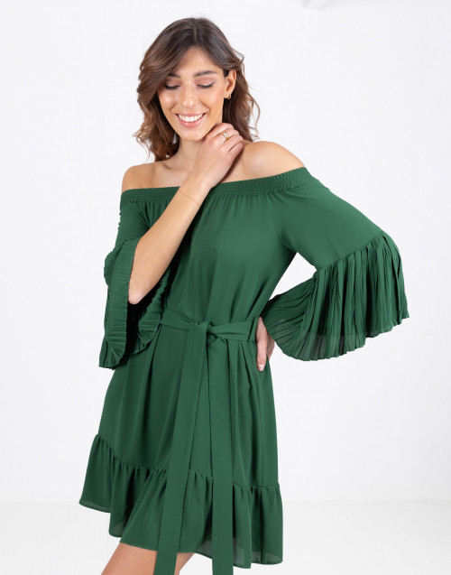 Green dress with flounces
