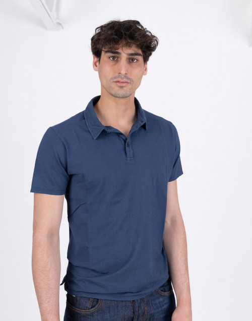 Blue flamed cotton polo shirt