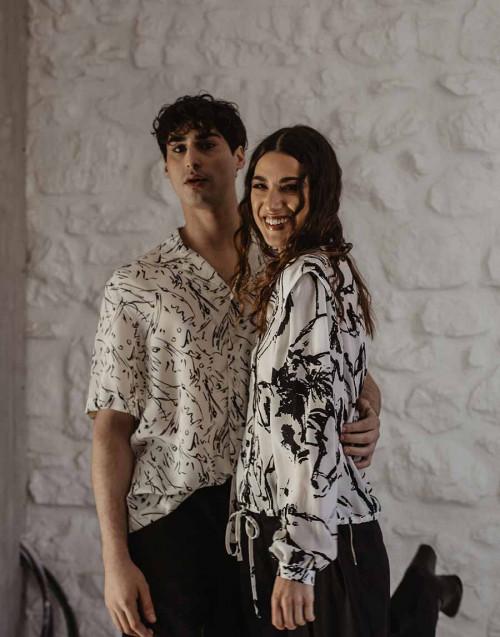 Patterned bowling shirt