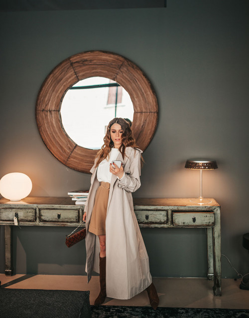 Long ice-colored technical fabric trench coat