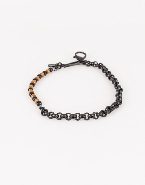 Catena nera con perle marroni