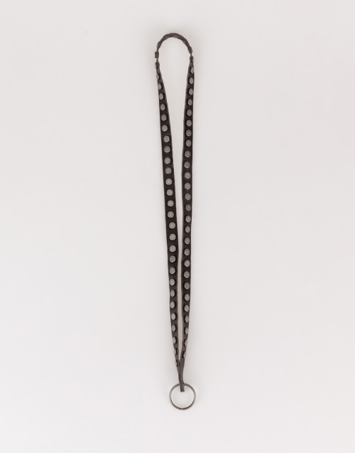 Brown keychain collar with studs