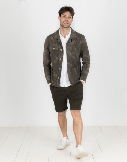 Military green cargo bermuda shorts