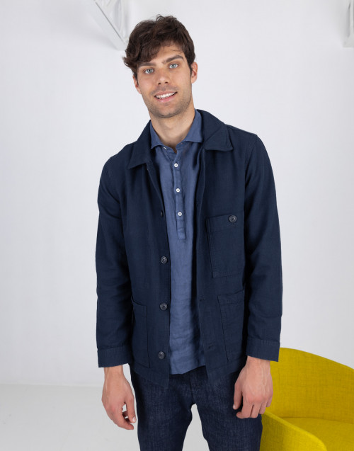 Overshirt blu in denim