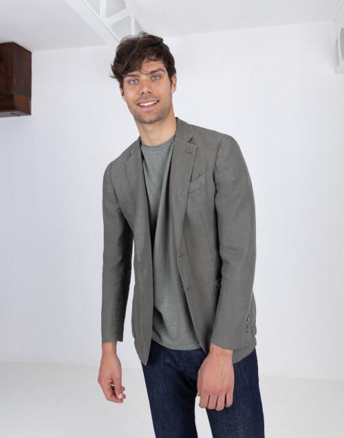 Military green linen blazer