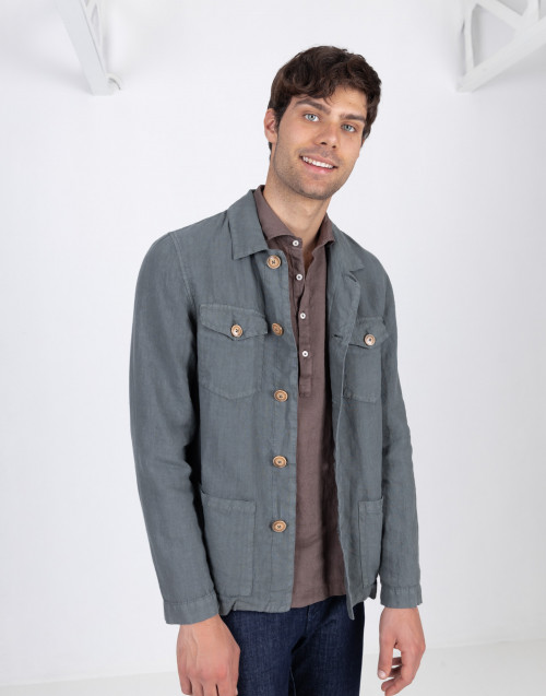 Green linen overshirt