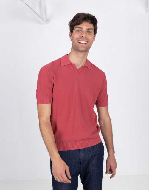 Red polo shirt in armor cotton