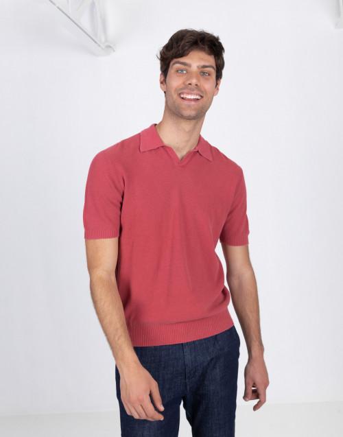 Polo rossa in cotone armatura