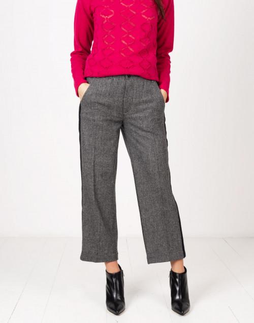 Pantaloni lana grigio con bande nere