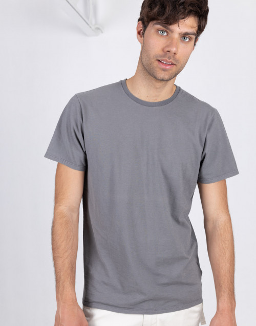 Anthracite flamed cotton t-shirt