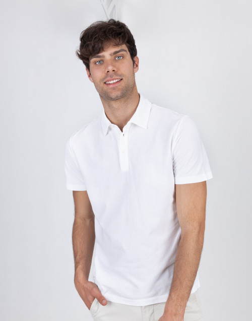 White cotton polo shirt
