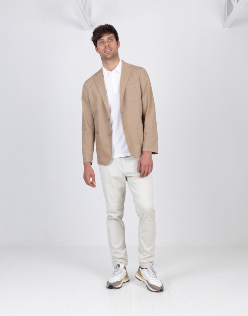 Beige stretch cotton blazer