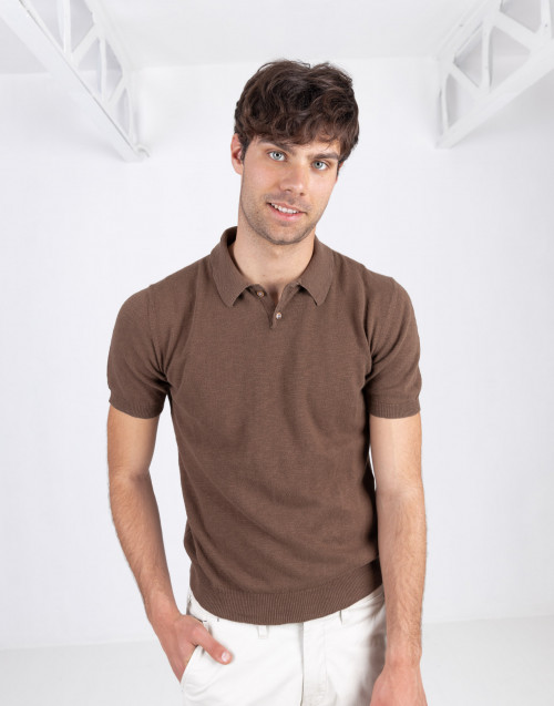 Brown flamed cotton polo shirt