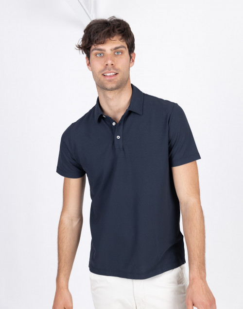 Blue cotton polo shirt