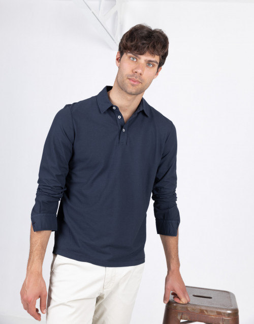 Polo blu ice cotton manica lunga