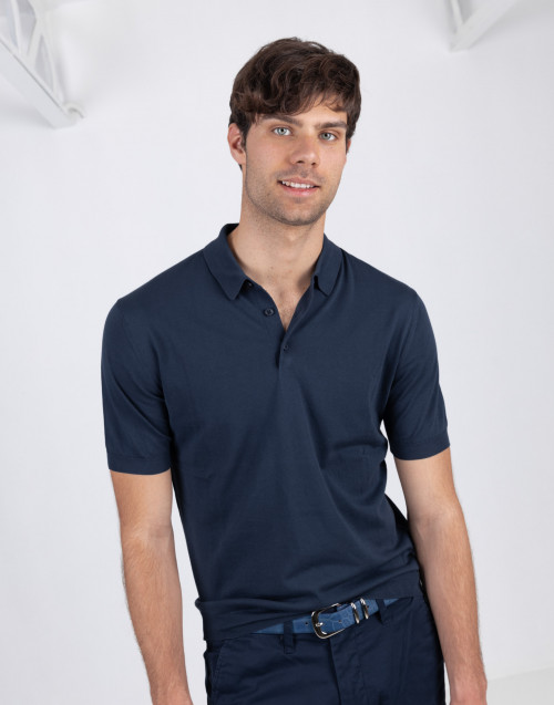 Polo blu in cotone manica corta