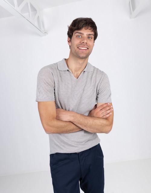 Dove gray linen polo shirt