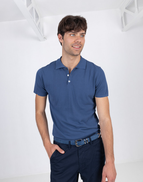 Blue short sleeve cotton polo shirt