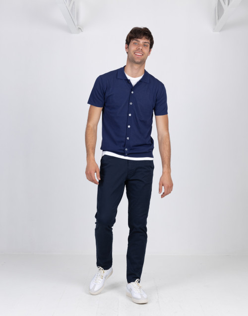 Cardigan blu manica corta in cotone