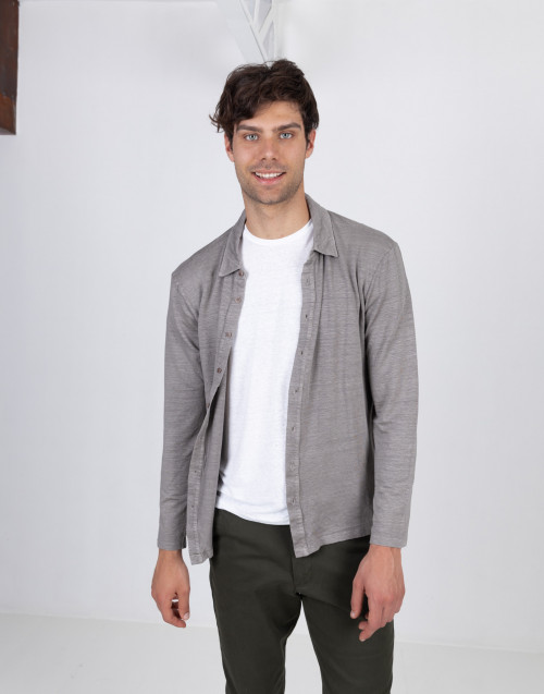 Dove gray linen cardigan