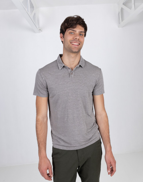 Dove gray linen polo shirt