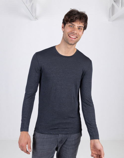 Anthracite linen T-shirt