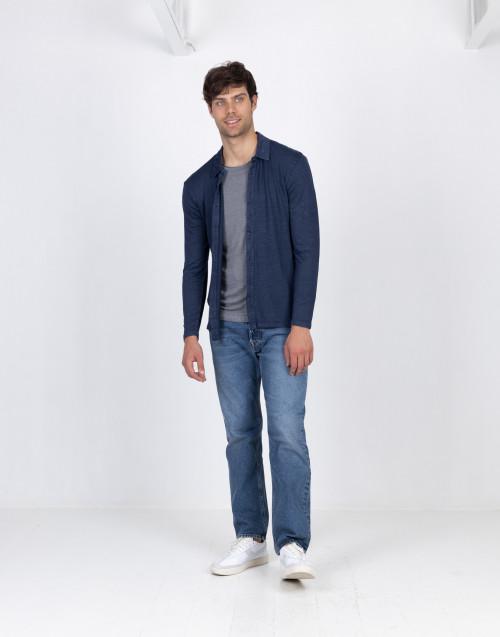 Cardigan blu in lino