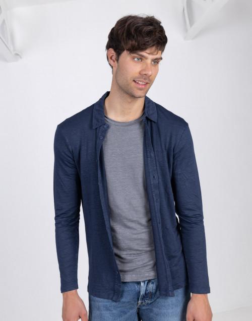 Maglia camicia blu in lino