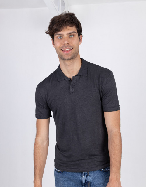Anthracite linen polo shirt