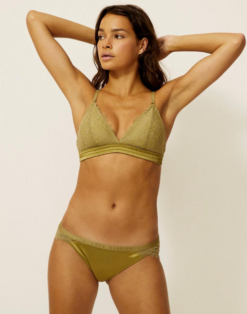 LARA BRIEFS IN SATIN AND OLIVE LACE
