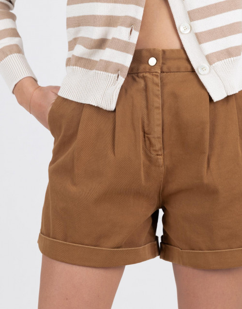 High-waisted brown shorts