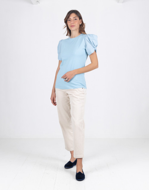 "Light blue ""Adele"" T-shirt with puff sleeve"